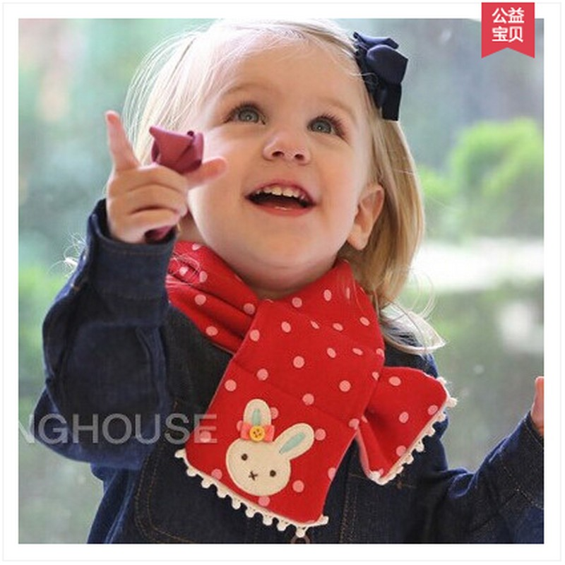 Dot baby scarf winter 2016 Cute thick warm scarves and stoles with ball for children