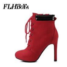 62b09c8682f50 Mujeres moda elegante tobillo Correa negro rojo alto talón fino cremallera  sólido arranque punta redonda helada