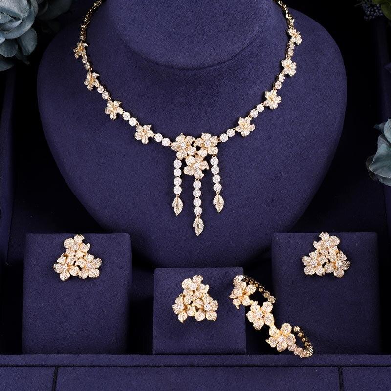 janeklly trendy Wedding Necklace Earrings For Women Accessories Flower Cubic Zirconia Bridal Jewelry Sets Innrech Market.com
