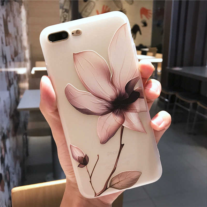Lotus Flower Case สำหรับ iPhone 8 Plus X XS Max XR 3D โล่งอก Rose ดอกไม้โทรศัพท์กรณีสำหรับ iPhone X 8 7 6 6 S Plus 5 5S SE Tpu