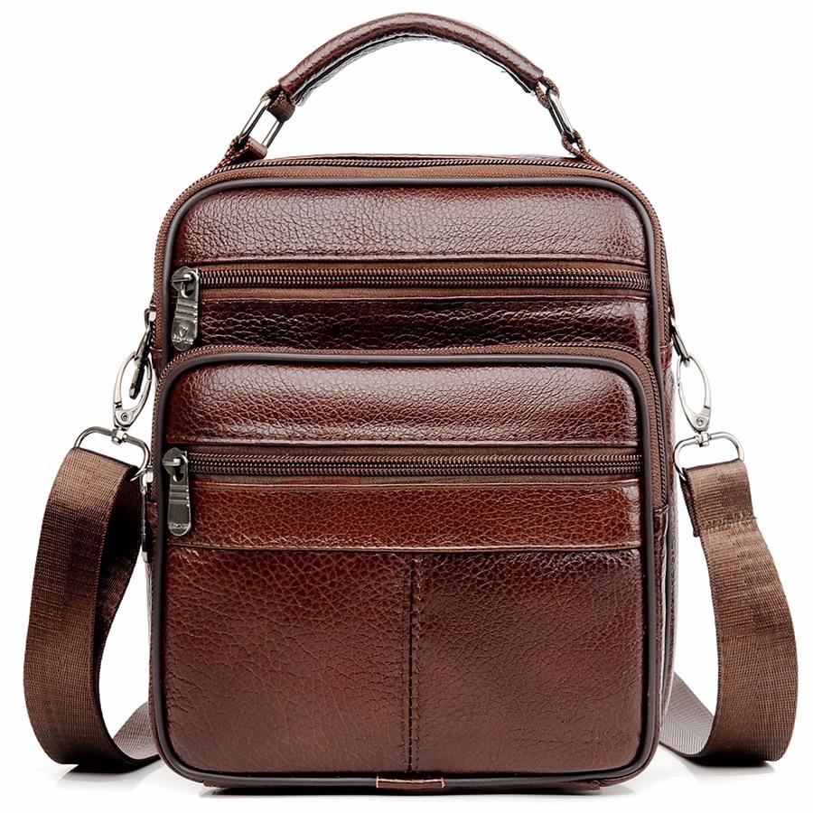 JackKevin Genuine Leather Men Handbag Shoulder Bag Hot Sale Cow Leather Bag Vintage Casual Style Flap Bags Men