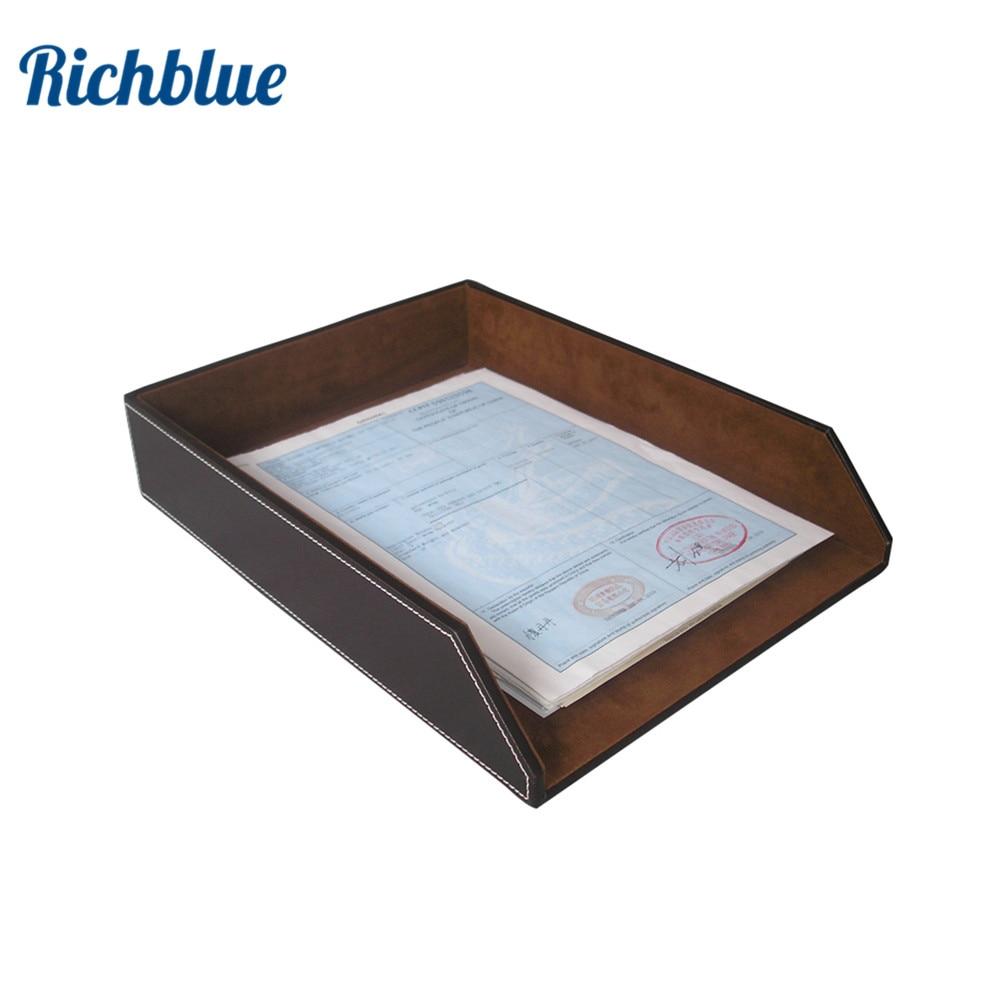 PU cuir fichier Document plateau bureau porte-fichiers A4 papier organisateur mallette de rangement noir et brun organiseur de bureau