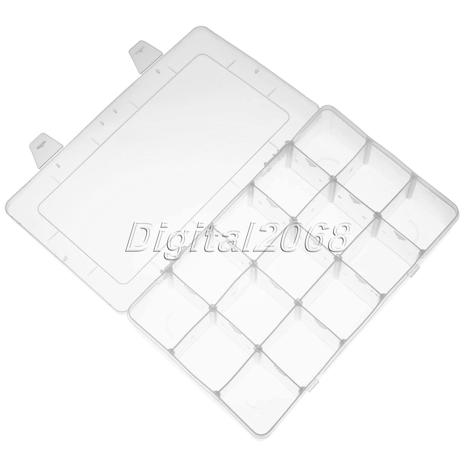 Ясно Органайзеры для шкафов 15 слотов Отсек Ящик для хранения ювелирных изделий Бусины серьги косметические кнопку Винт Пластик 27x16x5.5 см
