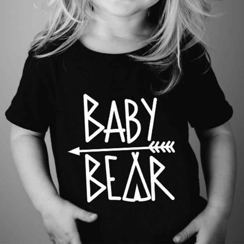 New Fashion Papa Bear Mama Bear Baby Bear letter printing round collar parent-child clothes short sleeve T-shirt family tops