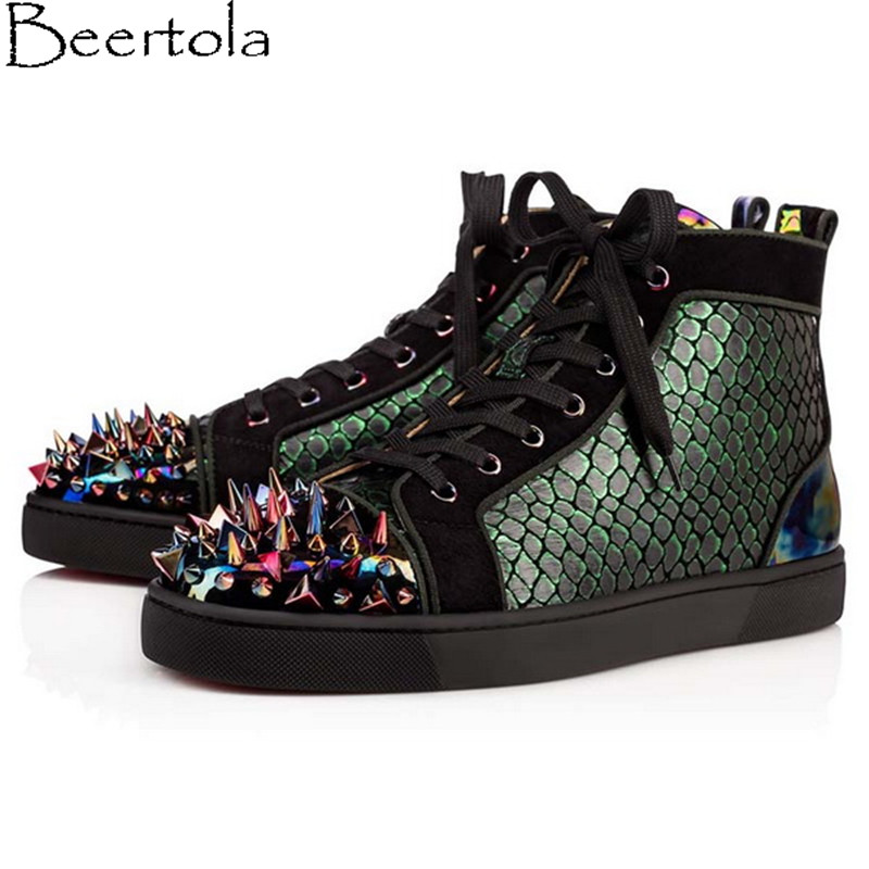 Detail Feedback Questions about Beertola New Casual Shoes Man Head Studded  Colorful Spikes Snakeskin Pattern Leisure Shoes High Top Lace Up Luxury  Brand ... 4ff930cfc7bf