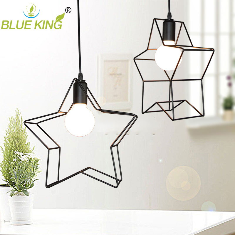 loft vintage lamp pendant light iron cute stars - Star Pendant Light