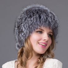 Russian women real fur cap fshion Fox fur hat handmade good quality hat natural fox fur cap lady's winter warm cap HHY-14A