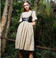 Original Design Women Spring Summer French Vintage Elegant Slim O Neck Short Sleeve Loose Peru Imported Ramie Medium long Dress