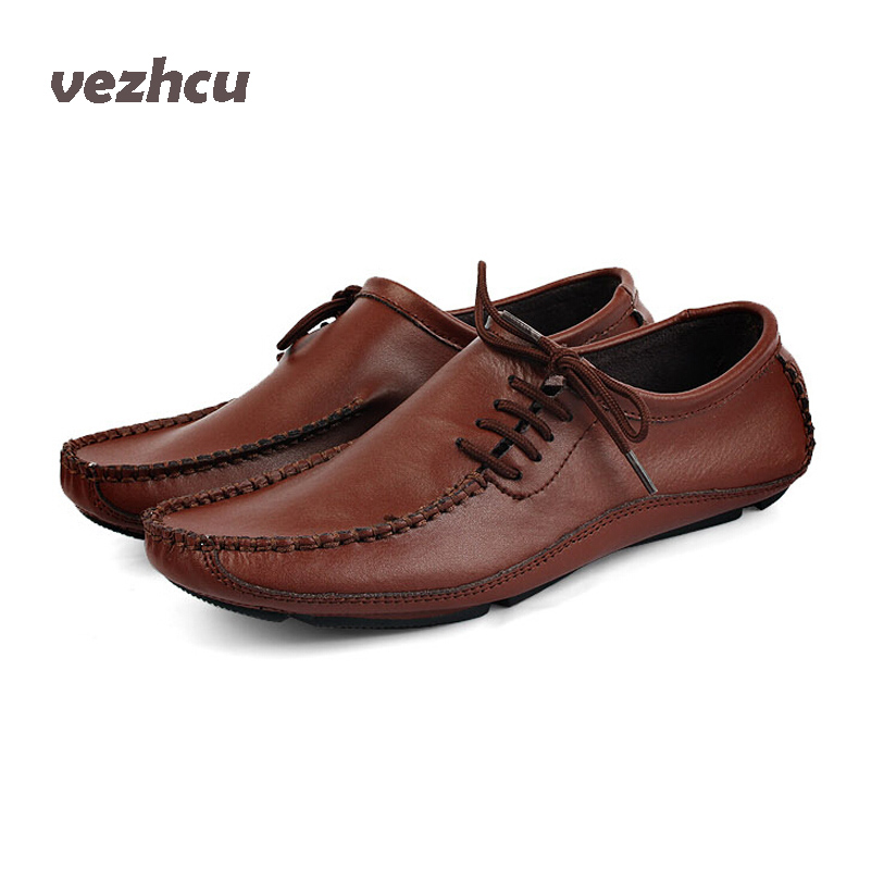 VZEHCU Flats Men Summer casual genuine leather shoes Breathable flats casual driving shoes gommini loafers boats shoes Men ac35 top brand high quality genuine leather casual men shoes cow suede comfortable loafers soft breathable shoes men flats warm