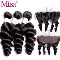 Mi Lisa Loose Wave Bundles With Lace Frontal Closure Peruvian Hair 3 Bundles Human Hair Weave Remy Frontal Closure With Bundles