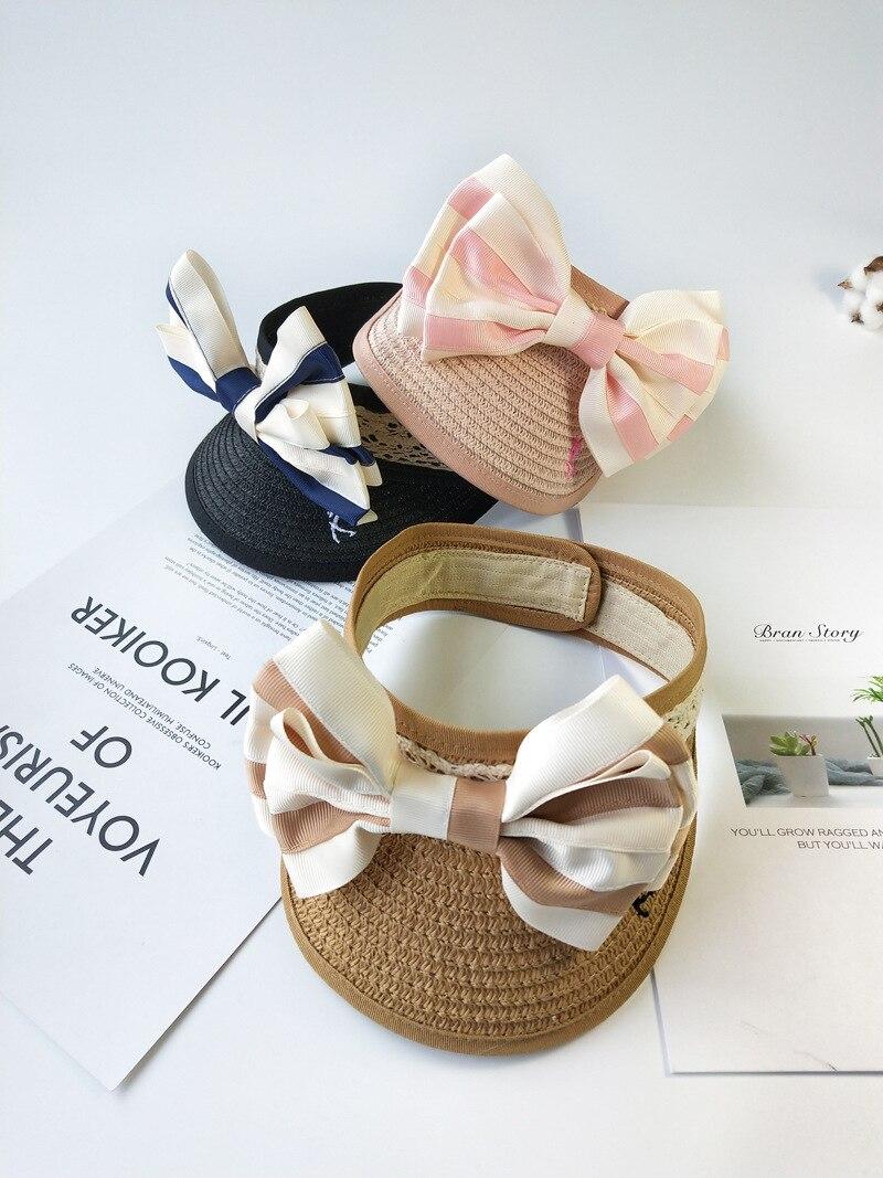 10pcs lot 01904 pan041 summer without stpried bowknot children straw visors hat girl leisure Sunscreen cap