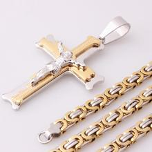 Classic Multilayer Cross Christ Jesus Pendant Necklace Stainless Steel Link Byzantine Chain Heavy Men Jewelry Gift 18-36