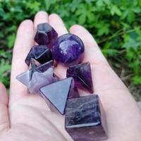 Purple Amethyst Stone Natural Crystal Quartz 7pcs Platonic Solids Sacred Geometric Carved Stone Crafts Home Decoration Feng Shui