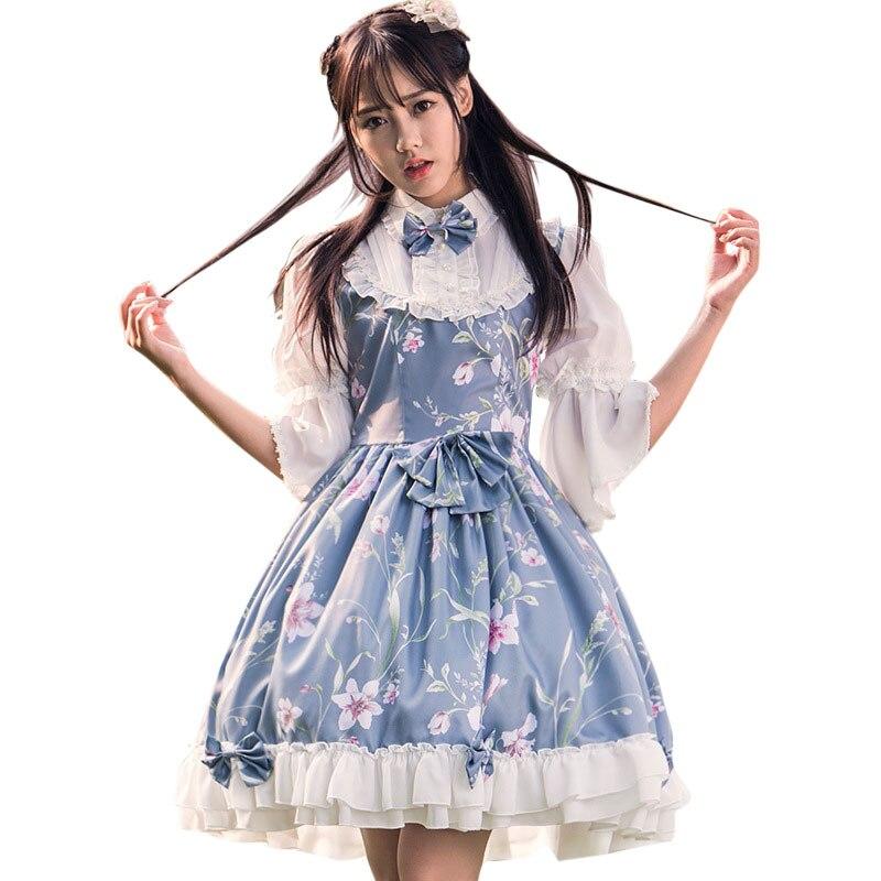 Pohádkové princezny Lolita šaty Vintage čínský styl Květinové tištěné poloviční rukáv Lolita OP šaty