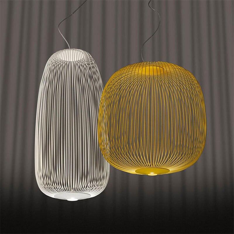 Poste moderne Foscarini rayons pendentif lumières industriel oiseau Cage Luminaire salle à manger salon décor à la maison Led suspension lampe