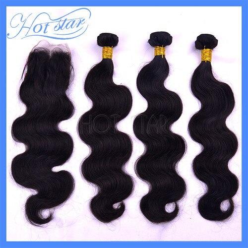 Unprocessed Brazilian virgin remy human hair 1 Piece Lace Top Closure with 3Pcs Hair Bundle 4pcs lot Body Wave mocha  products