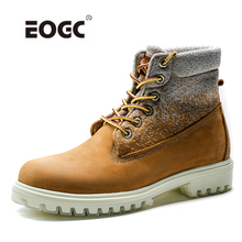 High top Natural Leather With Canvas Men Boots Handmade Retro Anti-Skidding Shoes Top Quality Autumn
