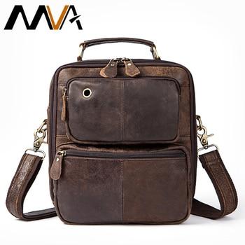 MVA Men Bag Leather Shoulder Handbags Top-handle Bags Double Zipper Genuine Leather Shoulder Bags Messenger Bag Leather Men Сумка