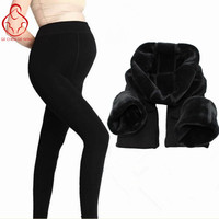 Maternity Thermal Legging Autumn And Winter Plus Velvet Thickening Maternity Belly Pants Dark Color Step Foot