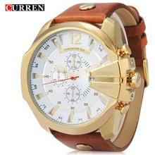 2016 NUEVA CURREN dial Grande relojes de primeras marcas de lujo de los hombres writh sport relojes de Cuarzo banda de cuero reloj de los hombres reloj de regalo hombre