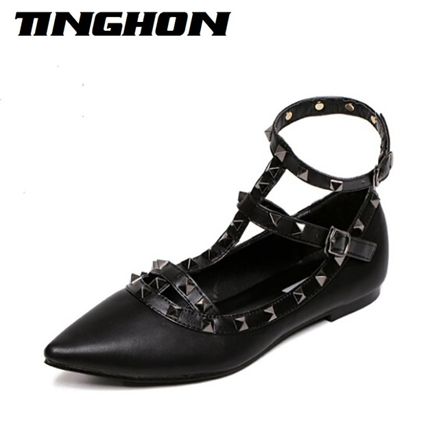 810ec225a0 Fashion Women's Pointed Toe Buckle Sandals Metal Rivet Studded Comfy Flats  Thin Shoes Women Flat Lady Fashion Shoes-in Women's Flats from Shoes