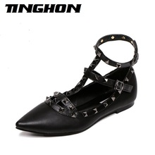 Fashion Women's Pointed Toe Buckle Sandals Metal Rivet Studded Comfy Flats Thin Shoes Women Flat  Lady Fashion Shoes