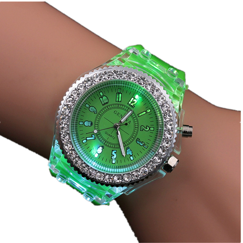 Night Light Quartz Watch 2018 Diamond Geneva Silicone Sports Glowing Women's Watches For Students Children Kids Gift Hodinky
