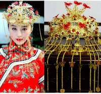 Free Shipping 2014 Chinese Handmade Tassel Bridal Crown Vintage Bridal Hair Accessories Gold Suit Chinese Style