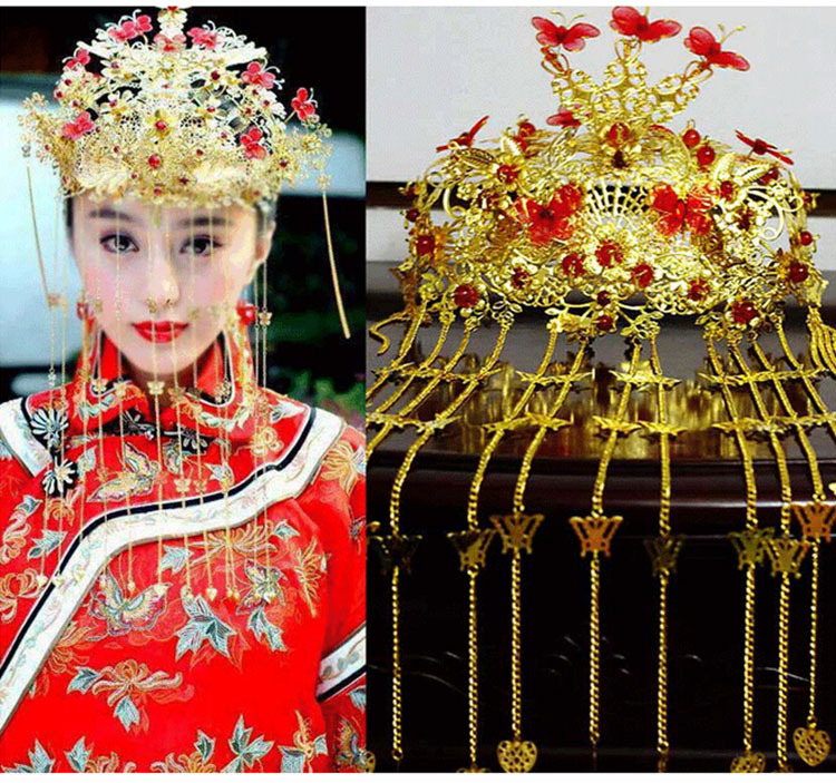 Free shipping 2014 Chinese handmade tassel bridal crown Vintage Bridal hair accessories Gold suit Chinese style red jewelry