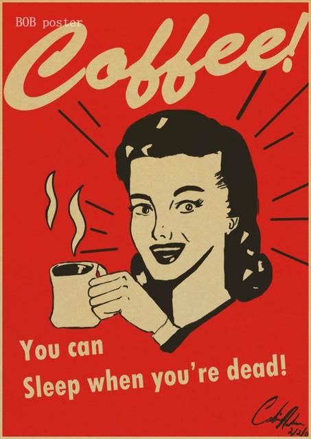 Kopi Espresso Yang Sesuai Dengan Diagram Poster Retro Kraft Paper