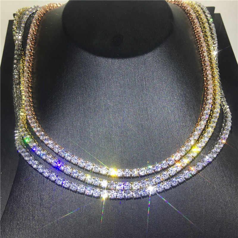 Vecalon Mewah Tenis Kalung 4 Mm AAAAA CZ Laporan Pesta Pernikahan Liontin Kalung untuk Wanita Pria Hip Hop Perhiasan
