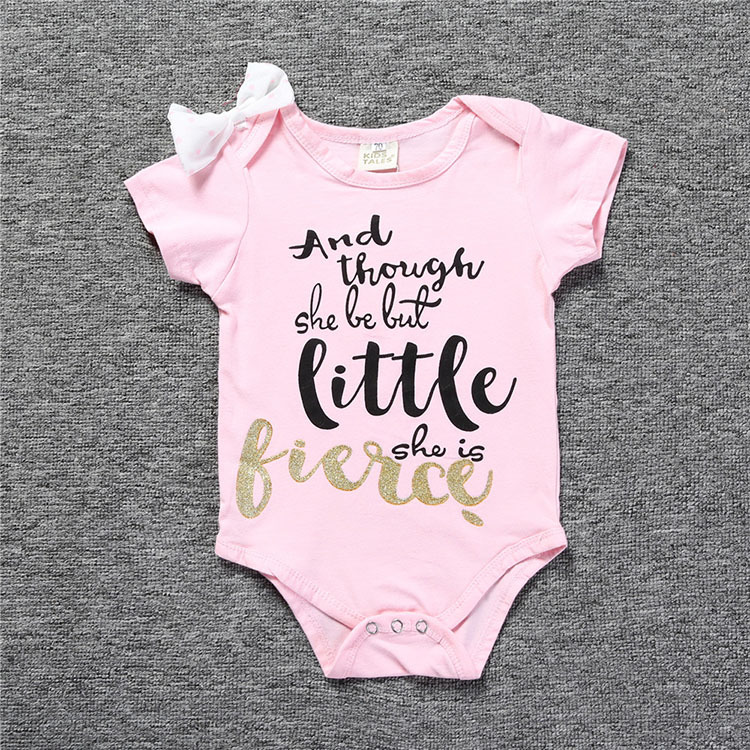 Newborn Baby Girl Clothes Outerwear 2017 Summer Short sleeve Infant Bebes Pink Romper With flower Cotton Infant Costume Outfits