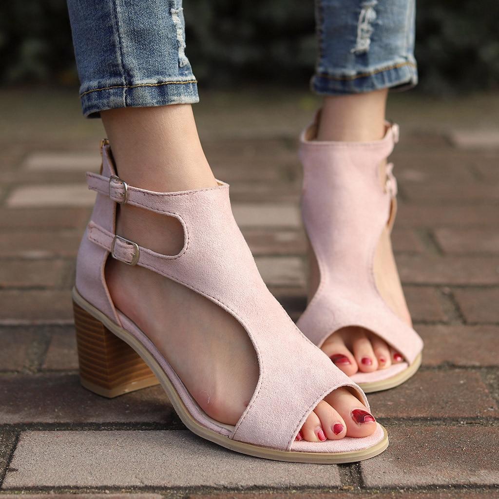 1ef94bd46a3 Mujeres verde Nuevo Pescado Para De Hueco Verano Tacon Primavera 2019 Boca  rosado Muqgew Negro Moda Irregular Sandalias Mujer Zapatos ...