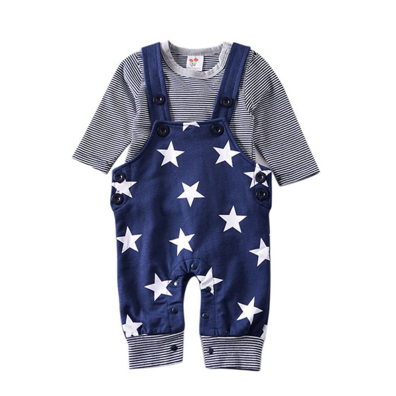 Toddler Baby Boys Clothing Set Baby Boys Girls clothing set Newborn baby striated T shirt+ Star Printed Bib pants Baby suits