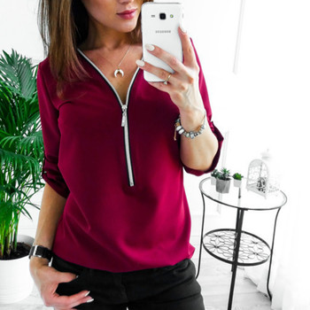 Zipper Short Sleeve Women Shirts Sexy V Neck Tops And Blouses Casual Tee Shirts Tops Female Clothes Plus Size 1