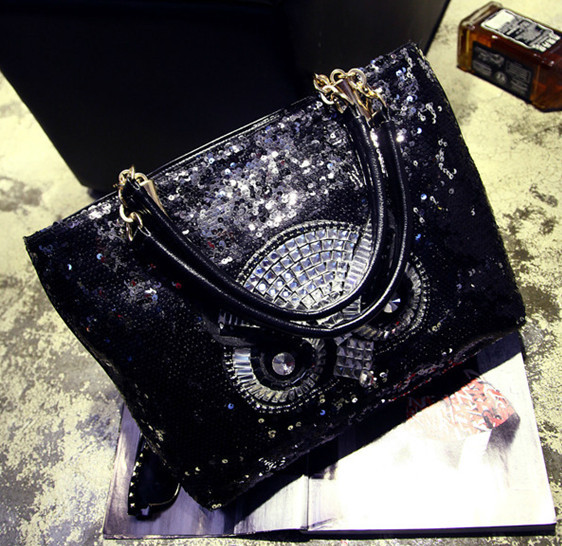 Free Shipping Sequin OWL Bag Black Famous Brand Handbag PU Leather Elegant Handbag For Women pu leather owl choker