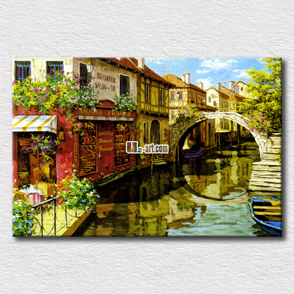 High quality canvas prints landscape oil paintings pictures of beautiful western river scenery paint for home decoration