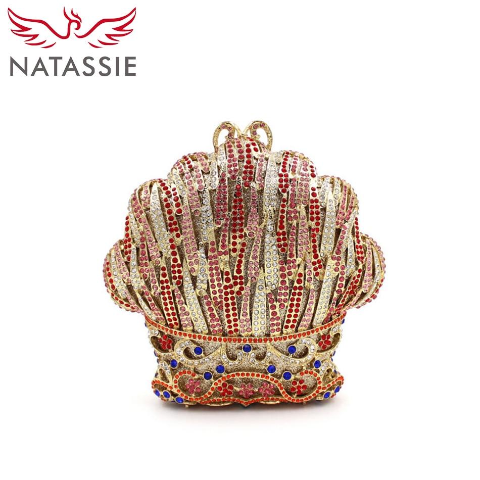 ФОТО NATASSIE Women Colourful Shell Shape Party Crystal Day Clutch Bag Rhinestone Handbag Lady High Quality Wedding Purse With Chai