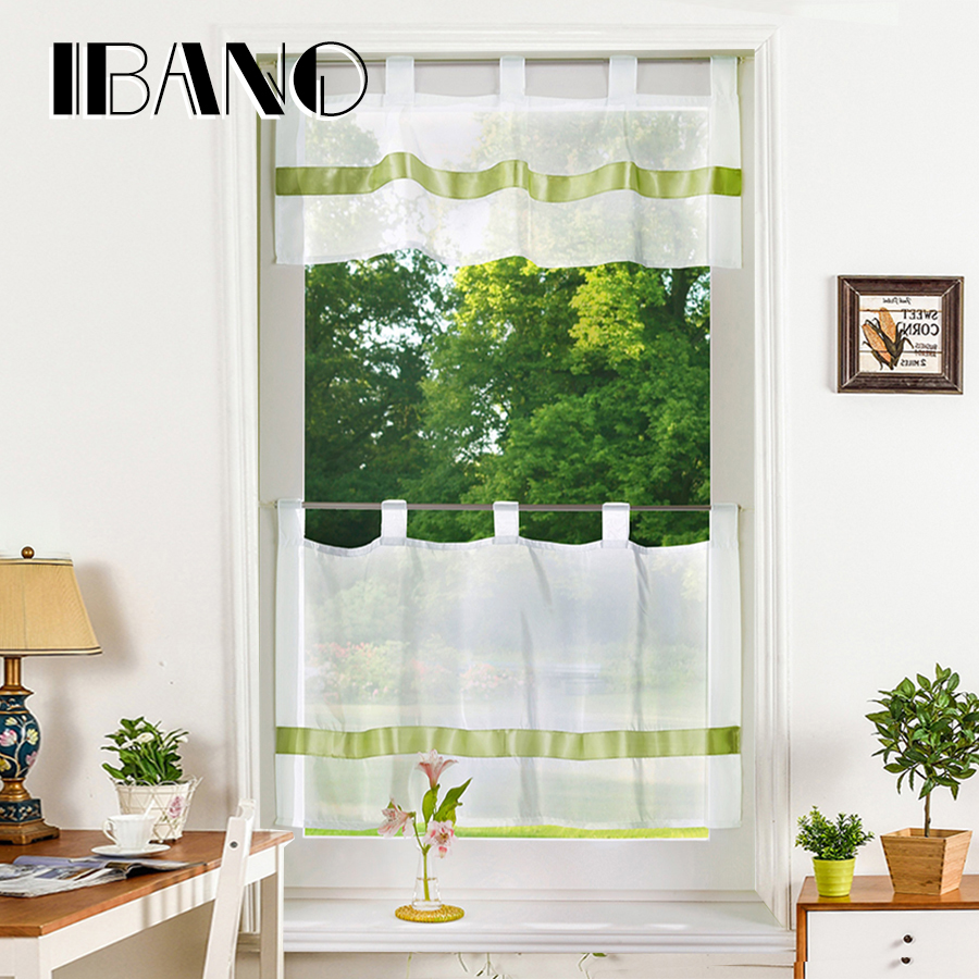 Half-curtain Embroidery Customize Coffee Solid Window Valance Roman Curtain Panel Drape Tab Tape for the Kitchen Cabinet
