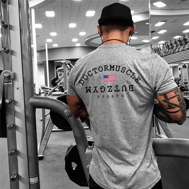 Мужские летние бег трусцой спортивные хлопковая футболка человек Спортзал Фитнес Бодибилдинг Футболка Мужской тренировки Футболка для тренировок Топы брендовая одежда