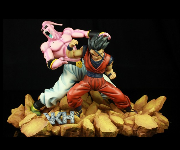 MODEL FANS VKH Dragon Ball Z 33cm Son Gohan VS evil Majin Buu gk resin action figure toy for Collection model fans in stock dragon ball z mrc 30cm son gohan practice gk resin statue figure toy for collection
