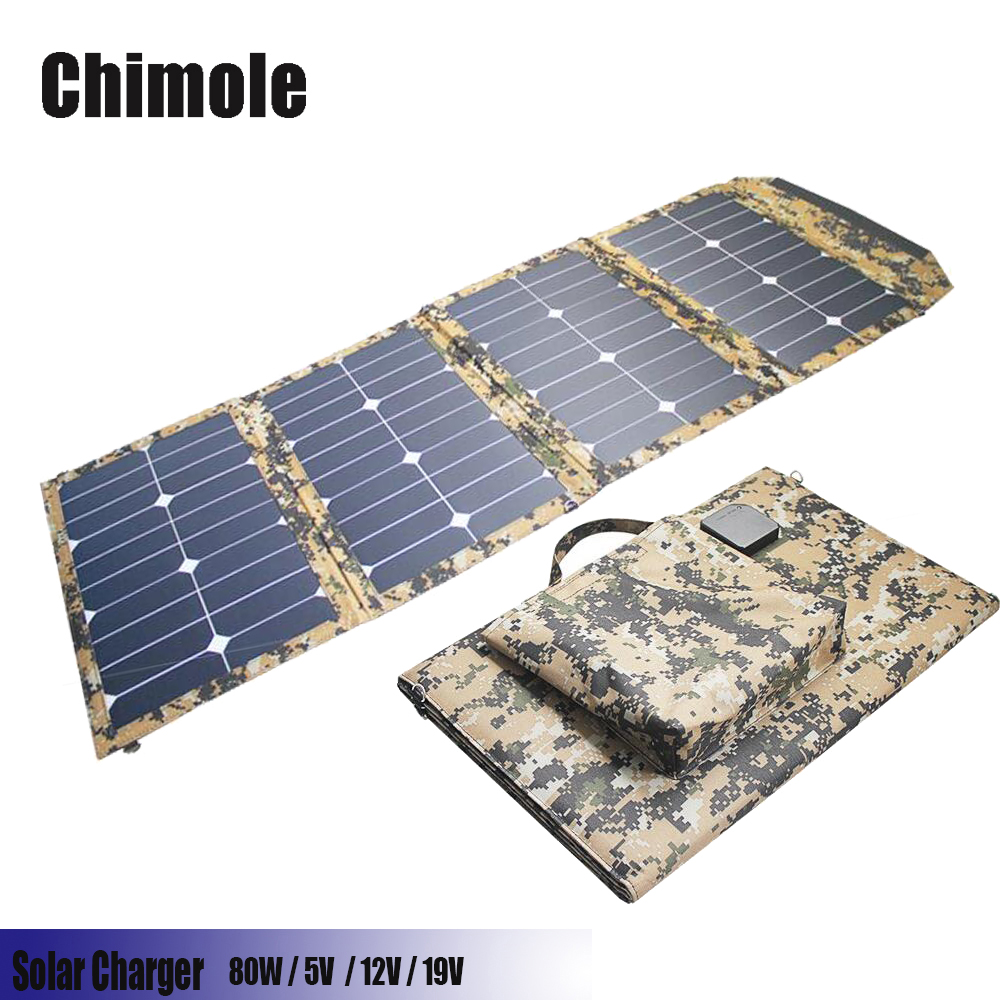 Chimole 18V/5V 80W Portable Solar Panel Charger Foldable Solar Cell Charger for iPhone iPad Macbook Samsung Laptops Car Battery x dragon 40w foldable portable solar charger for iphone ipad macbook samsung hp dell other phone tablet laptop 12v car battery
