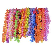 Dozzlor 50 pcs Hawaiian Flower Fashion Hot Party Supplies Silk Lei Garland Hawaii Wreath Cheerleading Products Hawaii Necklace(China)