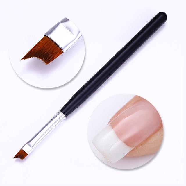 Black Nail Brush French Tip Matte Handle Nail UV Gel Polish Painting Drawing Brush Pen Manicure DIY Nail Art Tool 1 Pc