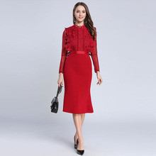 e936e927cb6e Lace Mesh Knitted Patchwork Tunic Bodycon Trumpet Dress Women Elegant Sexy  Party Packaged Hip Dress 2019