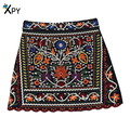 [XPY]Spring And Autumn Mini Ethnic skirts womens Short Black Embroidered Skirt High Waist Floral Vintage Embroidery Skirts Women