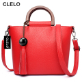 CLELO 2017 Women Bag Tassel Handbags Women Messenger Bags PU Purses Famous Brand Designer Totes For Ladies Fashion Shoulder Bag