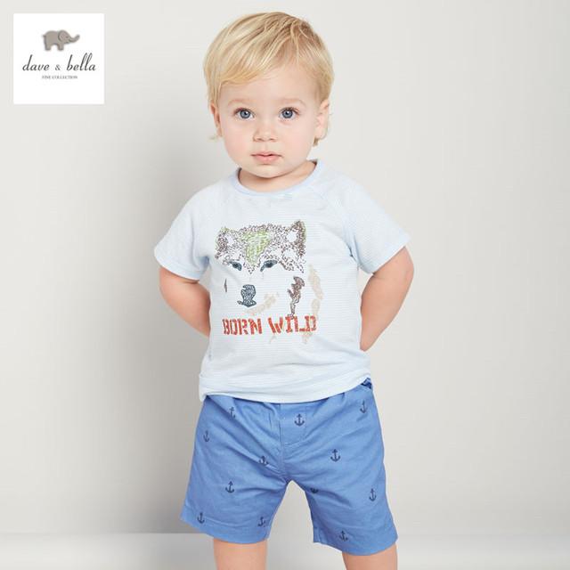DB3039 dave bella bebê menino camiseta de algodão azul de verão roupas infantis toddle listrado tees meninos lobo impresso encabeça crianças t-shirt