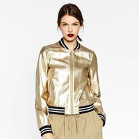 2017 Spring Fashion Women PU Leather Jacket Girls Bomber Jackets Gold Silver Casual Baseball Uniform Mother