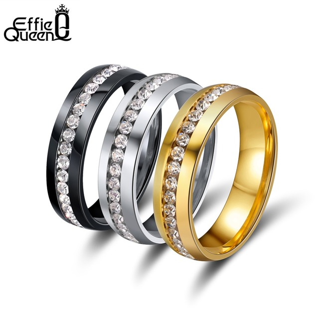 Effie Queen 6mm Round CZ Eternity Ring Bands for Women Men Stainless Steel 3 Col